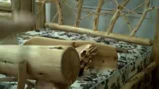 Wooden Bed Frame Made Of Logs