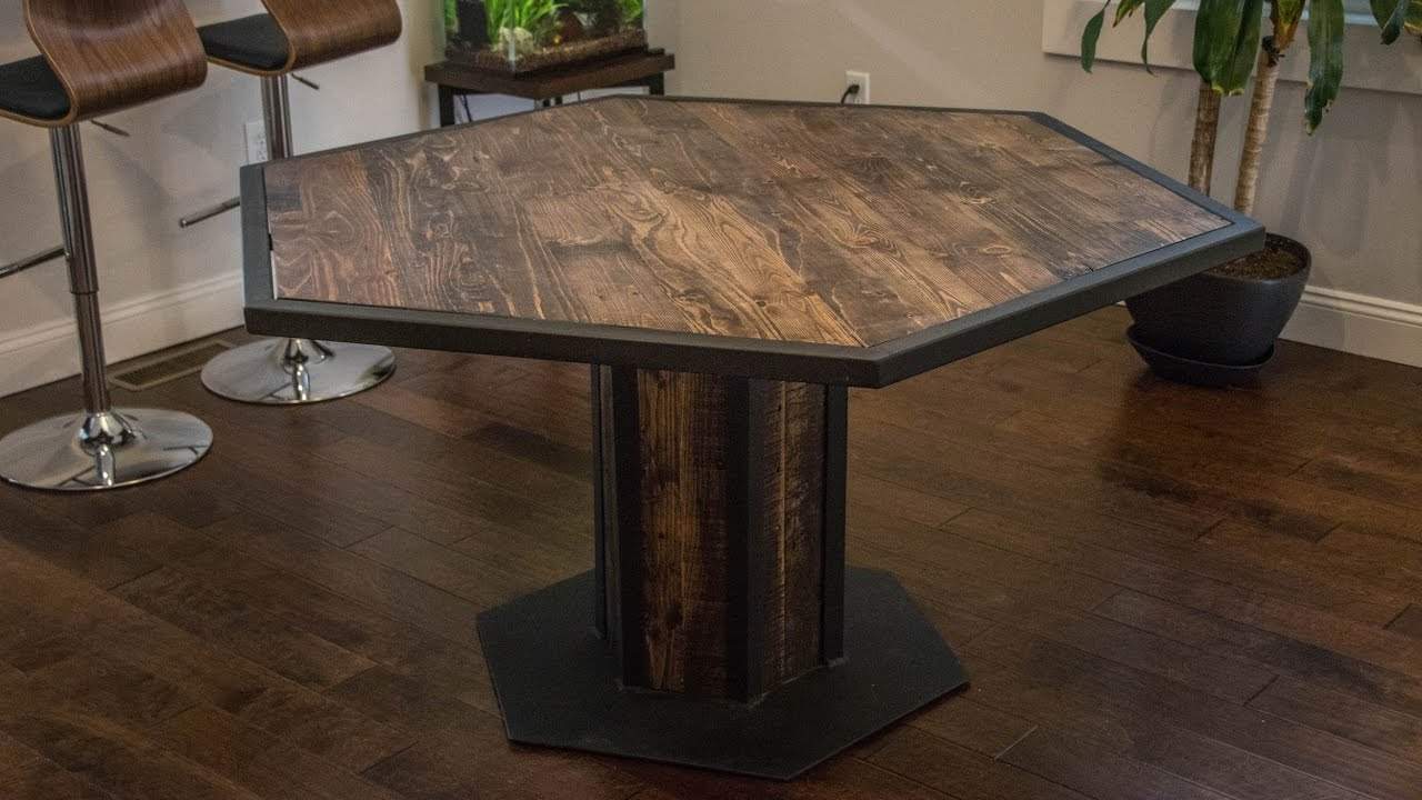 industrial style hexagon dining table youtube hexagon dining