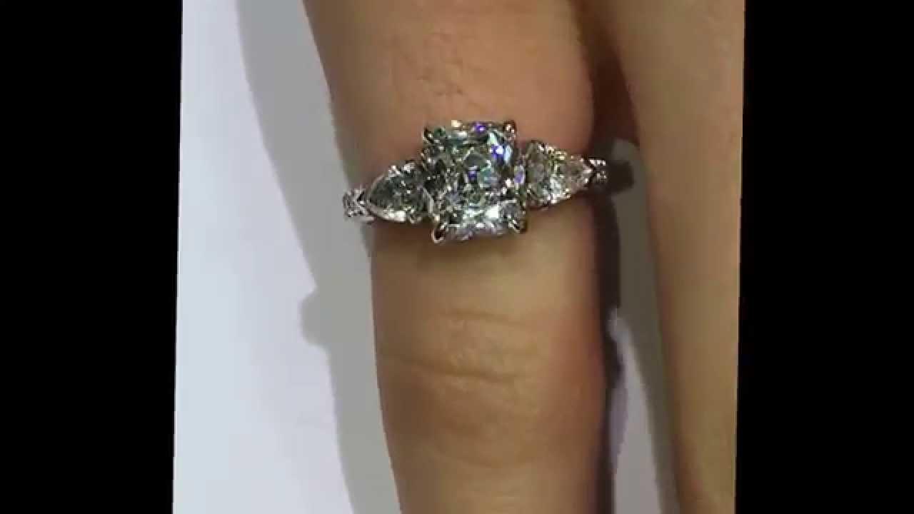 2 carat Antique Cushion Diamond Engagement Ring in 3-Stone ...