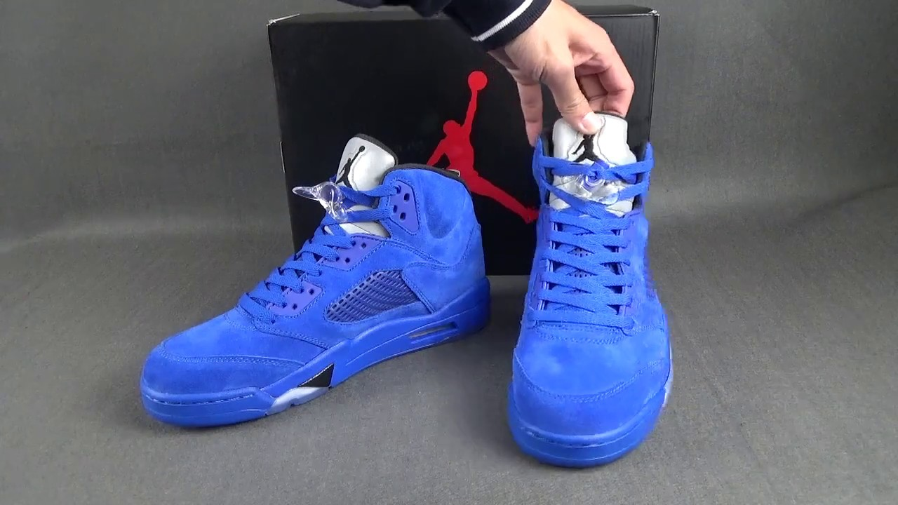 size 40 e2ae0 e8290 AIR JORDAN 5 BLUE SUEDE FIRST LOOK