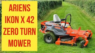 Ariens Ikon X 42 Zero turn riding ride on lawn mower in action cutting grass, relaxing calming music