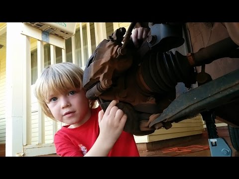 My 5-year-old son wanted to make a car repair video. Here he is changing our wheel bearing