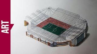 REAL 3D !!! 3D Art Draw OLD TRAFFORD STADIUM on paper - [REDRAW STUDIO]