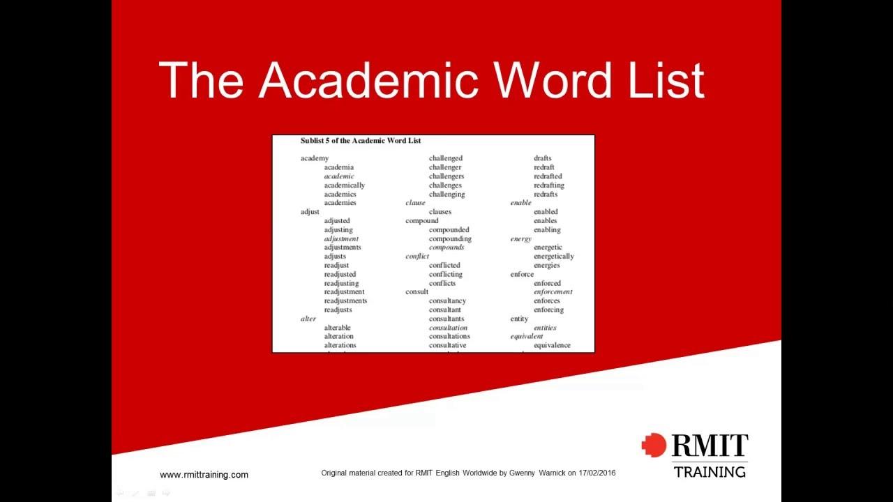 RMIT University — Academic word list tool