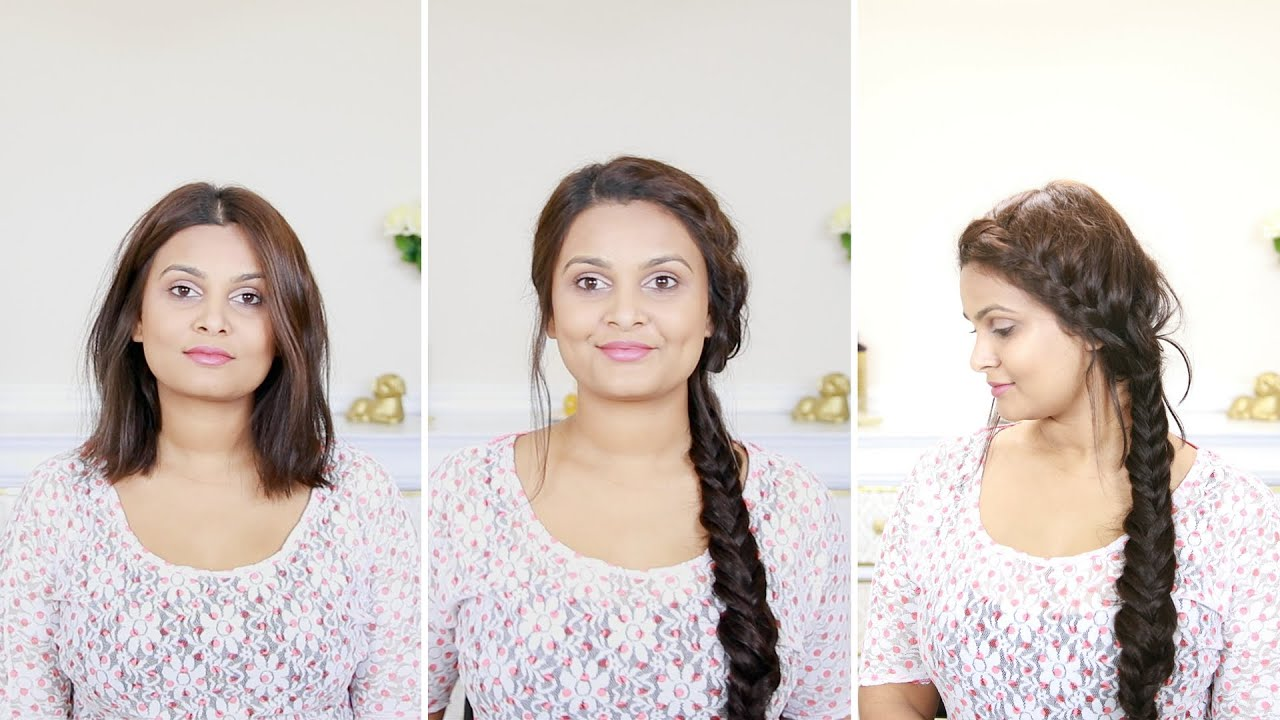 How to do a french fishtail braid | For short hair with extensions ...