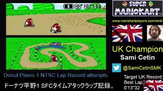 "Super Mario Kart Time Trial NTSC Donut Plains 1 Lap: 0'13""31 by Sami Cetin"