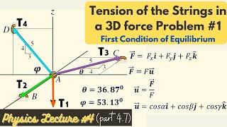 Find the Tension oḟ the Strings in a 3D force Problem using Direction Angles