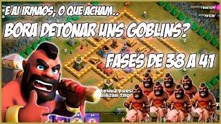 CLASH OF CLANS - MAIS 4 FASES - Campanha dos Goblins só de HOGS #12 - Fases de 38 a 41