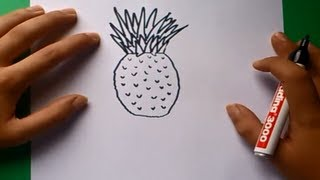Como dibujar una piña paso a paso | How to draw a pineapple