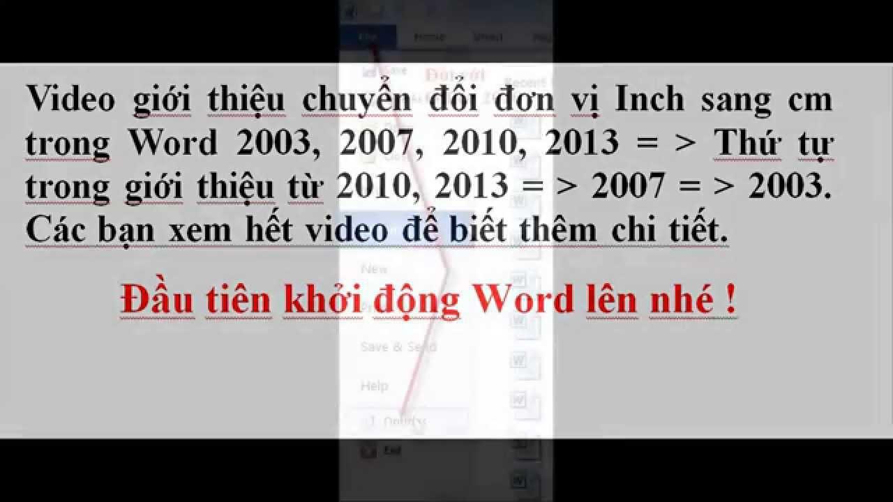 Cách đổi từ Inch sang cm trong Word  2019, 2016, 2013, 2010, 2007, 2003