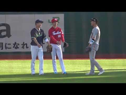 2021 オールスターゲーム 第2戦 HR競争の守備の際に話す坂本勇人・山田哲人・森下暢仁 現地映像