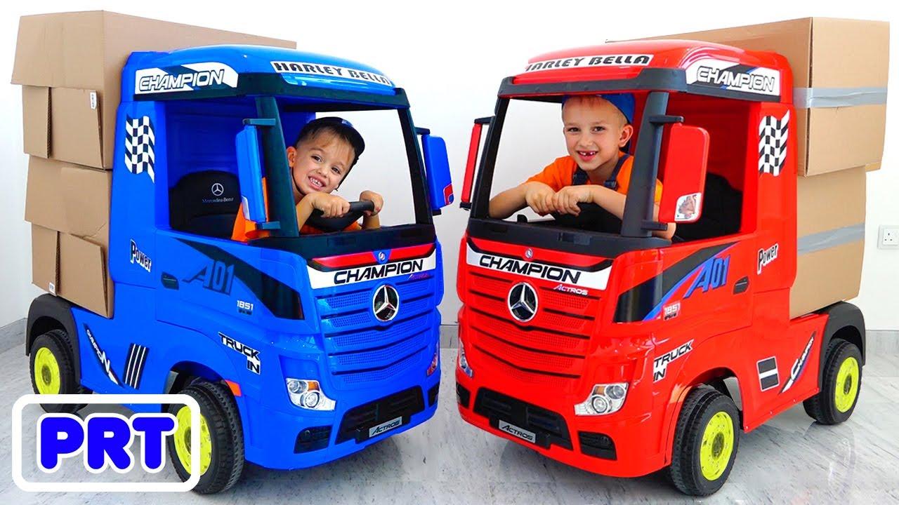 Download Vlad e Nikita fingem brincar com caminhões para crianças
