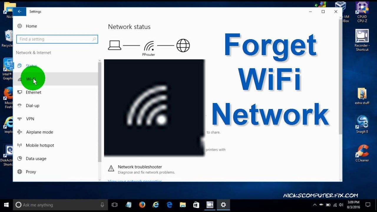 delete wireless network connection windows 10