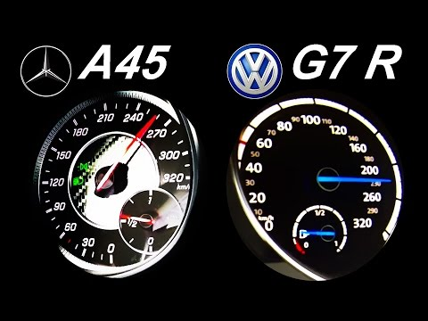 VW GOLF 7 R vs MERCEDES A45 AMG Acceleration 0-250 Onboard Sound Autobahn Test
