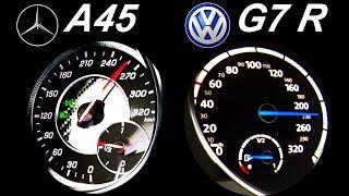 vuclip VW GOLF 7 R vs MERCEDES A45 AMG Acceleration 0-250 Onboard Sound Autobahn Test