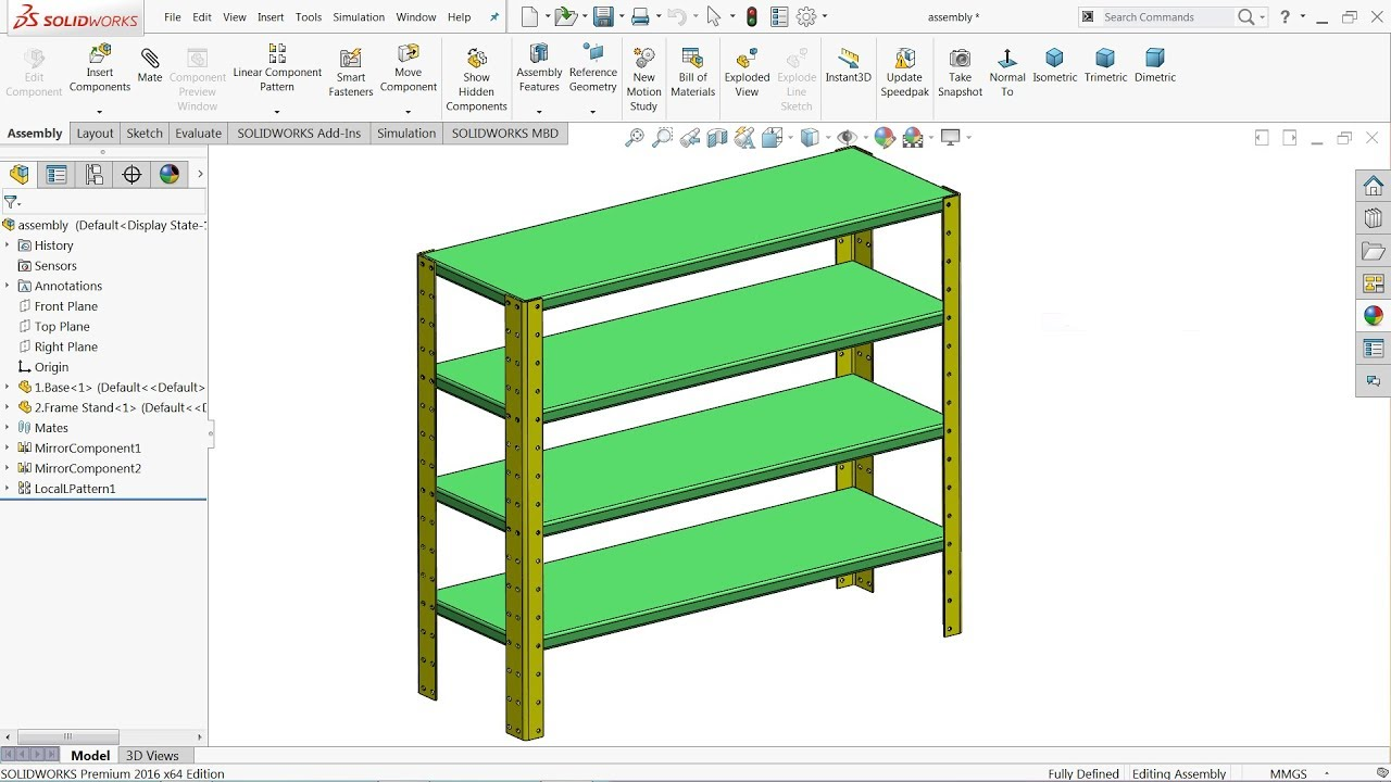 SolidWorks Sheet metal Steel rack 900x300mm #1