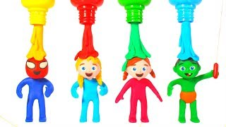 SUPERHERO BABIES HAVE FUN WITH RAINBOW COLOR PAINT ❤ SUPERHERO PLAY DOH CARTOONS FOR KIDS