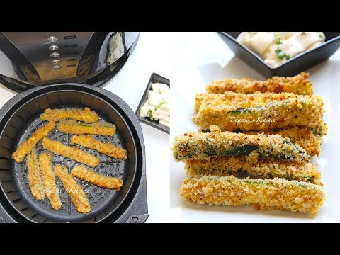 how-to-air-fry-crispy-zucchini-fries-video-recipe-holiday-sides|-bhavna's-kitchen