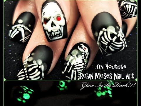 Halloween Nails that glow! Dog Skeleton and Glowing Skulls Nail Art Design Tutorial