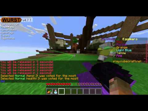 How to fly hack on eggwars Cubecraft with wurst 1.10 download link