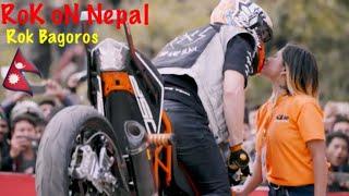 Rok Bagoros close look of his bike/ stunt show in Nepal 2018