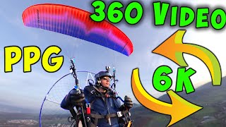 PARAMOTOR Flight with 360 Video Camera Insta One X - PPG Manni