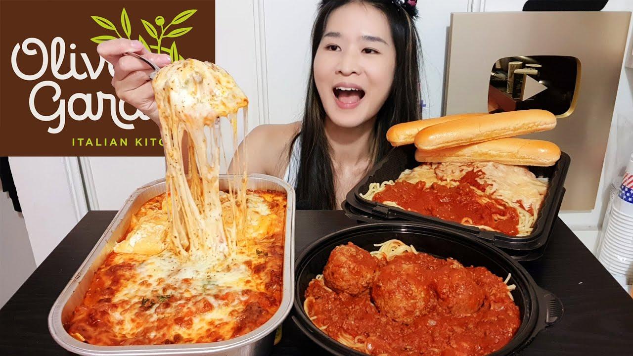 CHEESY OLIVE GARDEN FEAST! Meatball Spaghetti, Ravioli Lasagna & Eggplant Parmigiana - Mukbang Asmr