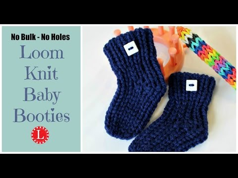 LOOM KNIT Baby Booties - Quick - No Holes - No Bulk Step by Step for Beginners Project Pattern