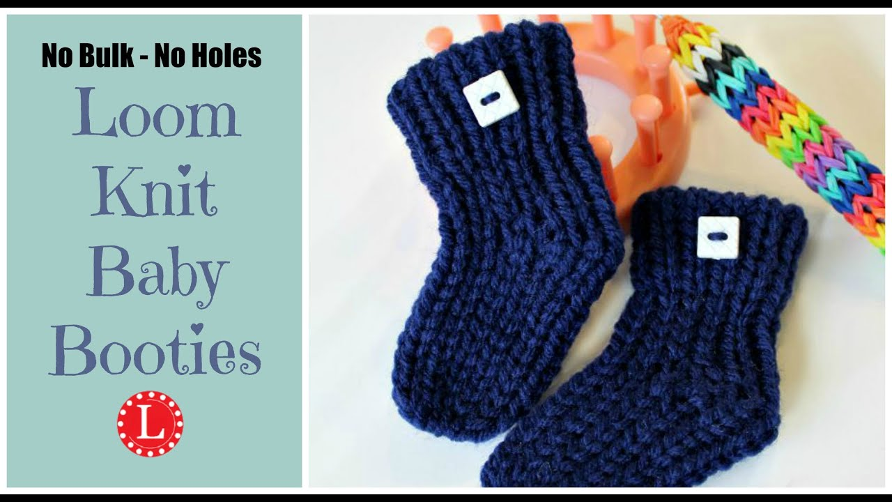 Basic Loom Knitting Instructions : Knit baby booties pattern for beginners