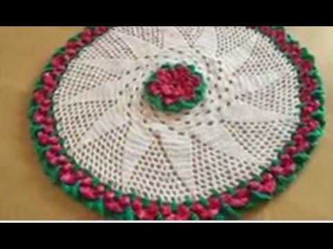 Tuto Nappe Tapis Fleur Au Crochet Special Gaucher Youtube