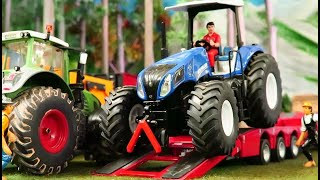 Rc Tractor PULLING TEST on the model farm/  Vehicles & rc machines in action / farm toy video