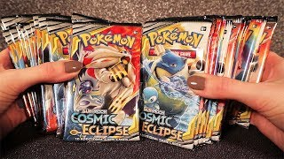 Opening Pokemon Cosmic Eclipse Booster Box 🌃 ASMR Relax Crinkles and Cards Sounds
