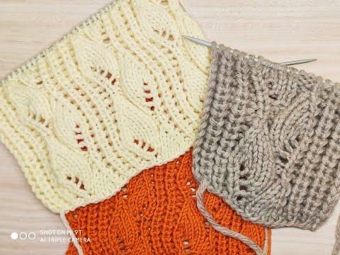 Красивый узор для свитеров, кофт и кардиганов. Вязание спицами.