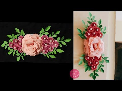 SIMPLE EASY PAPER ROSE WALL/DOOR DECOR | PAPER WALL HANGING | DIY PARTY DECOR