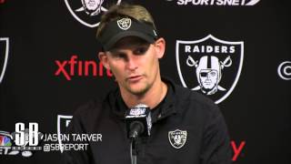 Raiders defensive coordinator Jason Tarver speaks at minicamp