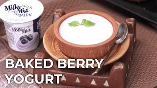 Baked Berry Yogurt Recipe | Eggless Baked Yogurt Recipe