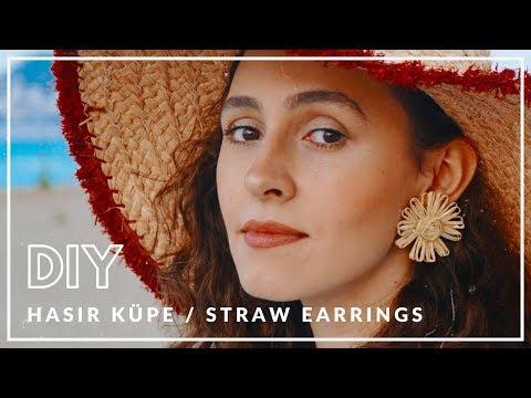 Hasır Küpe Yapımı / DIY Straw Earrings