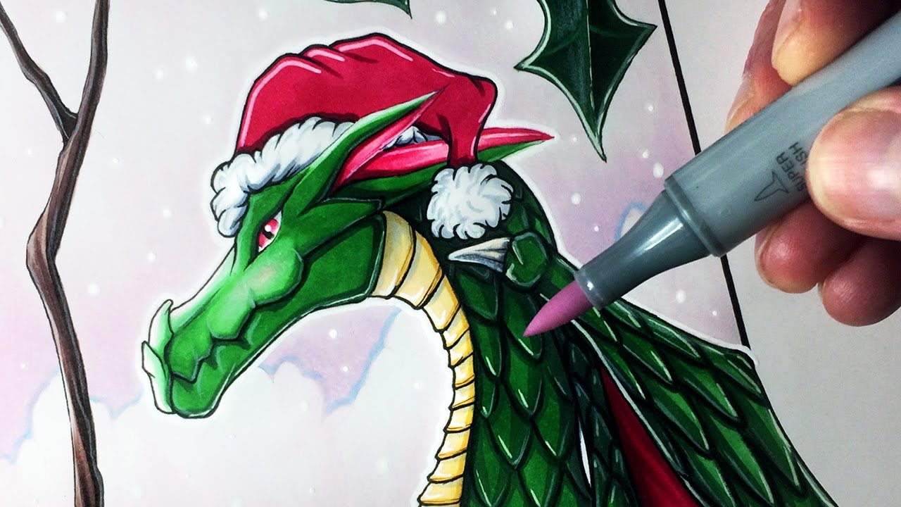 The Christmas Dragon.Let S Draw A Christmas Dragon Fantasy Art Friday