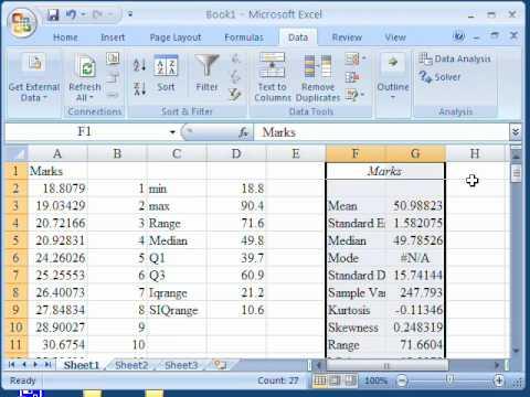 Descriptive statistics in Excel 2007 - YouTube