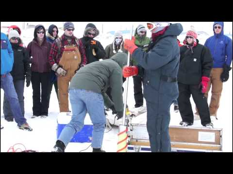 UAF Sea Ice Field Course: learning to drill core samples