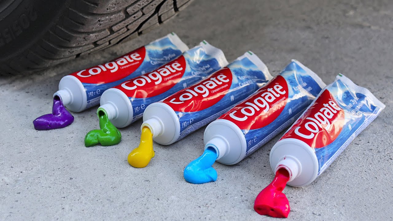 Experiment Car vs Rainbow Toothpaste, Balloon with Petards   Crushing Crunchy & Soft Things by Car!