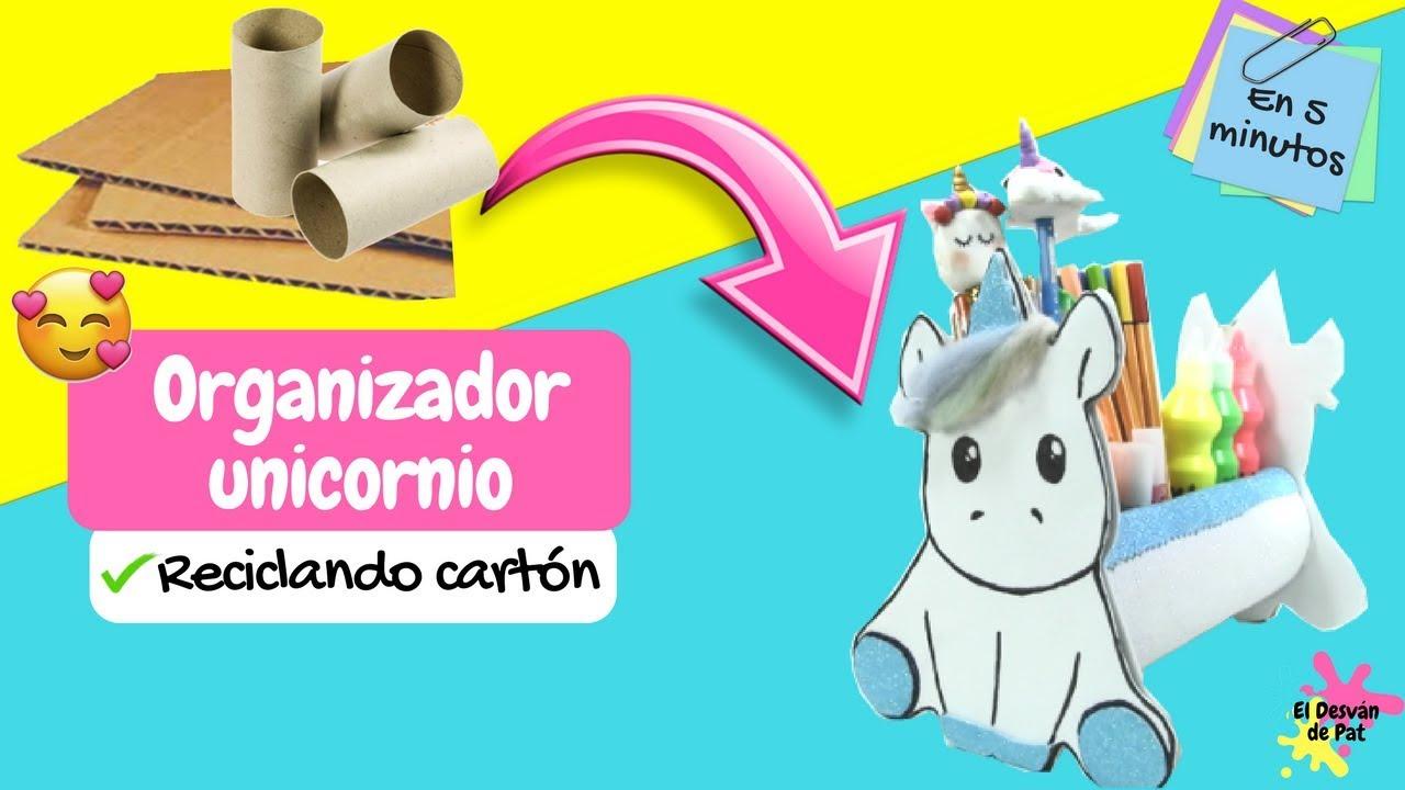 Manualidades faciles organizador unicornio con tubos de - Hacer manualidades en casa ...