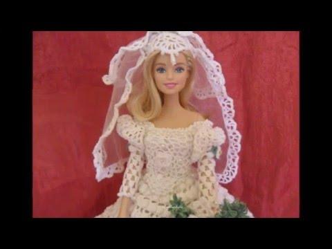 Lavori Artistici Alluncinetto Abito Da Sposa Per Barbie 2 Youtube