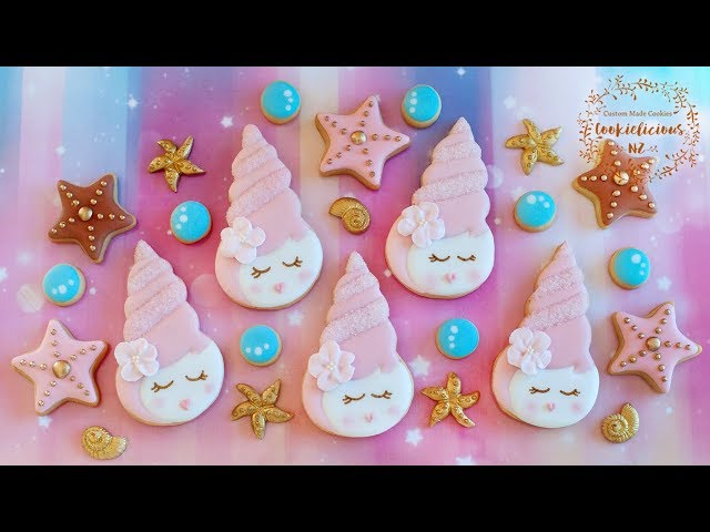 How to make Pretty Pink SeaShell Princess Cookies - PLUS a tutorial on piped royal icing flower