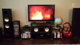 Showing off the BIC Acoustech PL-89 home theatre system.