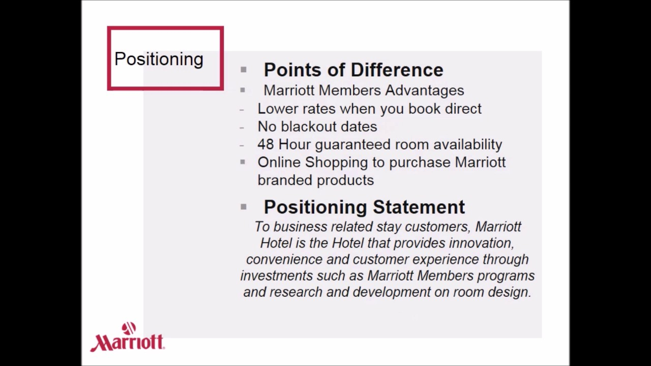 Marriott Marketing Plan