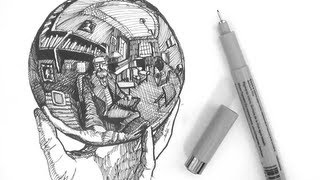 Pen and Ink Drawing Tutorials | How to draw a crystal ball reflection