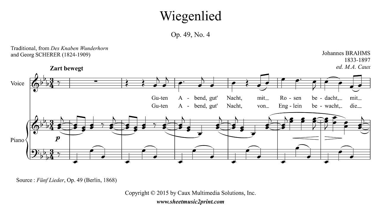 Wiegenlied Op.49 No. 4 - Score
