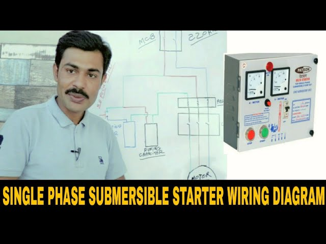 Single Phase Submersible Motor Starter Power Wiring Diagram Youtube