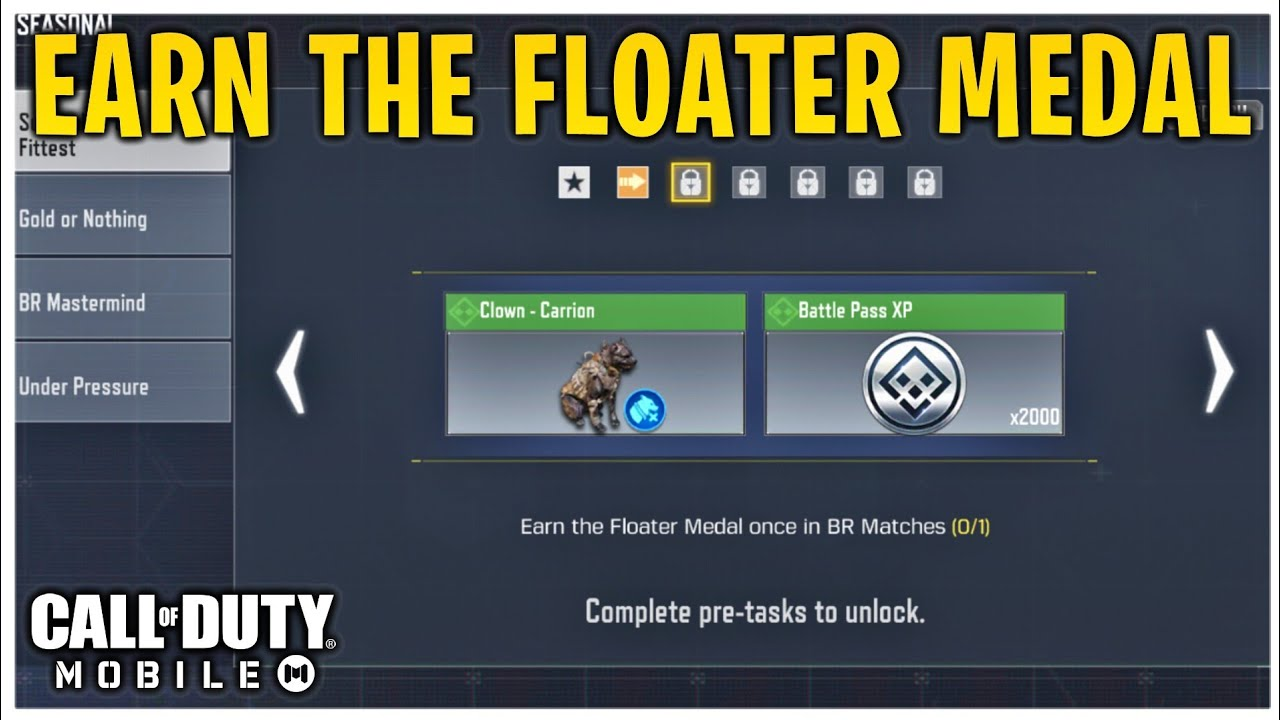CODM!Earn The Floater Medal once in BR Matches! New Seasonal Event Survival  of the Fittest in CODM! - YouTube